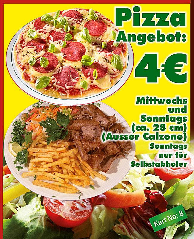 Mittwoch und Sonntag - Jede 28 cm Pizza nur 4 Euro